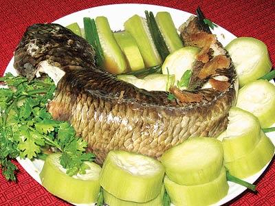 Nguyên liệu chuẩn bị cho món cá lóc hấp với bầu non