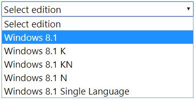 chọn phiên bản windows 8.1